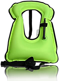 Isafish Inflatable Snorkel Vest Portable Kayak Life Jacket Bright Colored Life Vest for Adults Kids Diving Swimming Paddling Safety