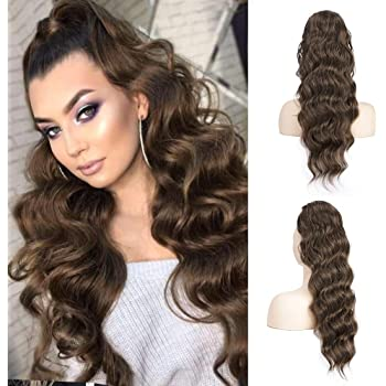 Long Wavy Drawstring Ponytail Extension Body Wavy Ponytail Synthetic Heat Resistant Hairpiece for Women