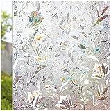 Metikow 3D Vinilos para Ventanas Vinilos Decorativos Película para Ventanas Vinilos Adhesivos para Cristales Semi-Privacidad Anti UV Pegatinas de Ventana para Oficina Hogar Cocina tulipán 44.5x200 CM