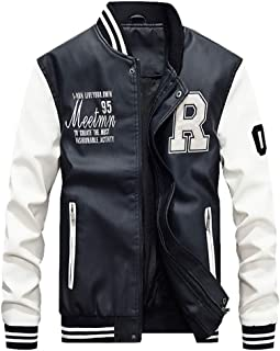 iTLOTL Mens Autumn Winter Casual Long Sleeve Stand Zipper Leather Add Velvet Jacket Top