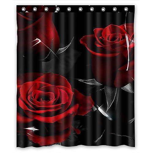 Golden Rose In The Dark Shower Curtain Complete Bathroom Set Waterproof