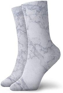 tyui7, Calcetines de compresión blancos antideslizantes Mable de la pantalla de inicio Calcetines deportivos acogedores de 30 cm para hombres, mujeres y niños