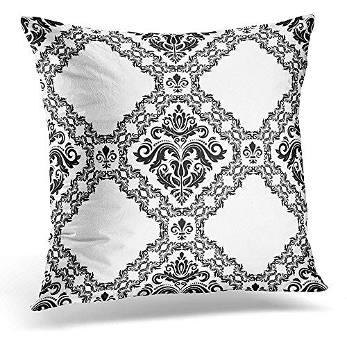 FAFANIQ Throw Pillow Covers Arabesque Orient Classic Black and White Pattern Abstract with Vintage Asian Decorative Pillows Case Square Size 18 x 18 inches Home Decor Sofa Cushion Cover