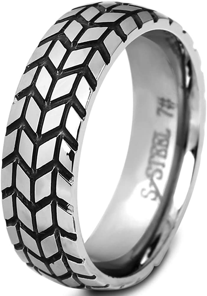 6mm Stainless Steel Vintage Style Grooved Wheel Tire Style Wedding Band Statement Biker Ring