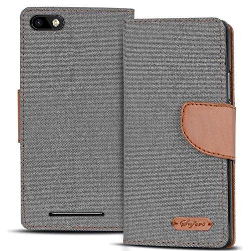 Verco Lenny 3 Hülle, Schutzhülle für Wiko Lenny 3 Tasche Denim Textil Book Case Flip Case - Klapphülle Grau