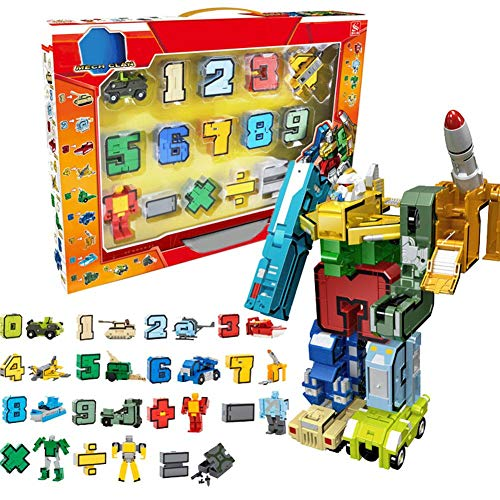 Adminitto88 Trasformatore di Numeri Alfabeto Giocattoli, Robot di Deformazione, Trasformato Assemblato Robot Building Blocks Kit Alfabeto Giocattolo, Trasformare in Auto Veicolo/Dinosauro, Regalo