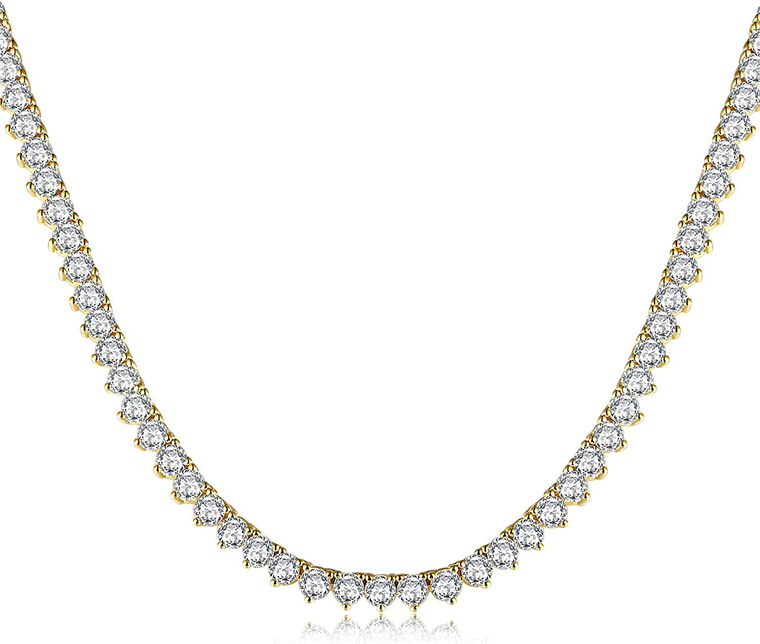 Diamond Tennis Necklace for Women and Men 18K Gold Plated Cubic Zirconia Chain, 4mm Round cut CZ