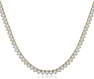 MDFUN 18 Inches Tennis Chain 18K Yellow Gold   White Gold Plated Tennis Round Cubic Zirconia Cut Necklace for Women Men
