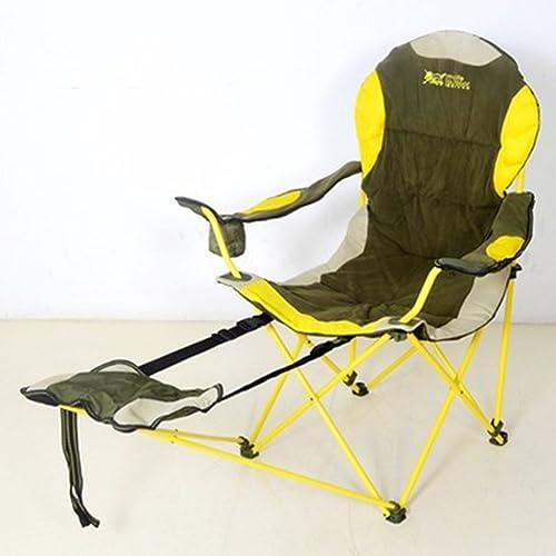 Ren Chang Jia Shi Pin Firm Lits de Camp et hamacs Chaise Pliante Unique Portable Chaise Pliante Coton allongé Plus Coton Double Usage Chaise Chaise de pêche Camping (Couleur   jaune)