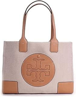 Tory Burch Women's Ella Canvas Tote Tan Handbag Mini, Natural, Natural