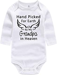 Newborn Infant Baby Rompers Hand Picked for Earth by My Grandma Grandpa in Heaven Summer Winter Bodysuit