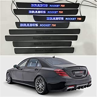 Mercedes-Benz Brabus Rocket 700 Style Special Edition W222 S222 S63 S500 S550 S65 S Class Entrance mouldings LED Illuminated Door Sills Interior Trim Set 8 pcs Stainless Steel Black Matte Blue Sign
