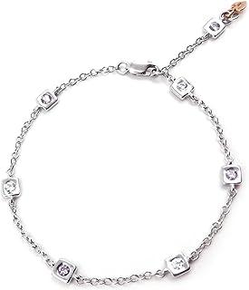 Bracciale donna in oro bianco con ametista e zirconi, braccialetto 18 kt. (750‰)