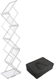 Foldable Magazine Brochure Catalog Literature Holder Rack Stand- Portable 6 Pockets Magazine Rack with Carrying Bag for Trade Show, Exhibitions, Office and Retail Store Display