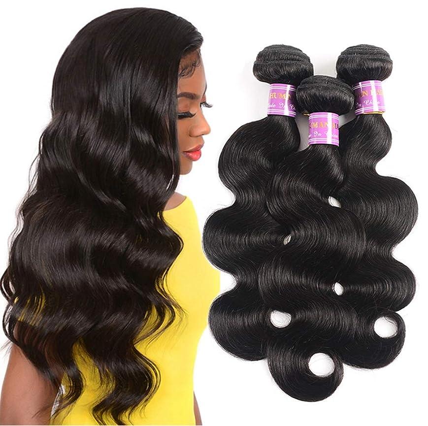 ブラジルの毛の束ボディ波の人間の毛髪の織り方3の束のRemyのブラジルの体波の毛延長完全な頭部