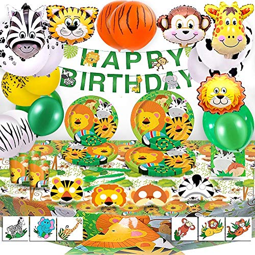 Bea's Party Decoracion Fiesta cumpleaños niño Safari Party Safari Decoracion cumpleaños Selva Safari Globos Animales de la Selva vajilla Mantel servilletas Pancarta Safari Bosque Animal