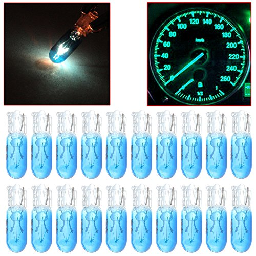 cciyu 20 Pack Blue T5 17 86 206 Halogen Light Bulb Instrument Cluster Gauge Dash Lamp 12V