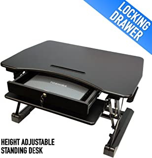 Height Adjustable Standing Desk with Storage and Locking Security Drawer, Sit to Stand Gas Spring Riser, 36