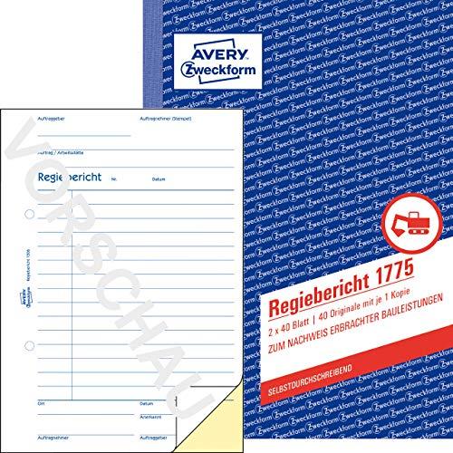 AVERY Zweckform 1775 Regiebericht (A5, selbstdurchschreibend, von Rechtsexperten geprüft, für Deutschland u.Österreich zur Dokumentation von Arbeitsleistung u. Materialverbrauch, 2x40 Blatt) weiß/gelb