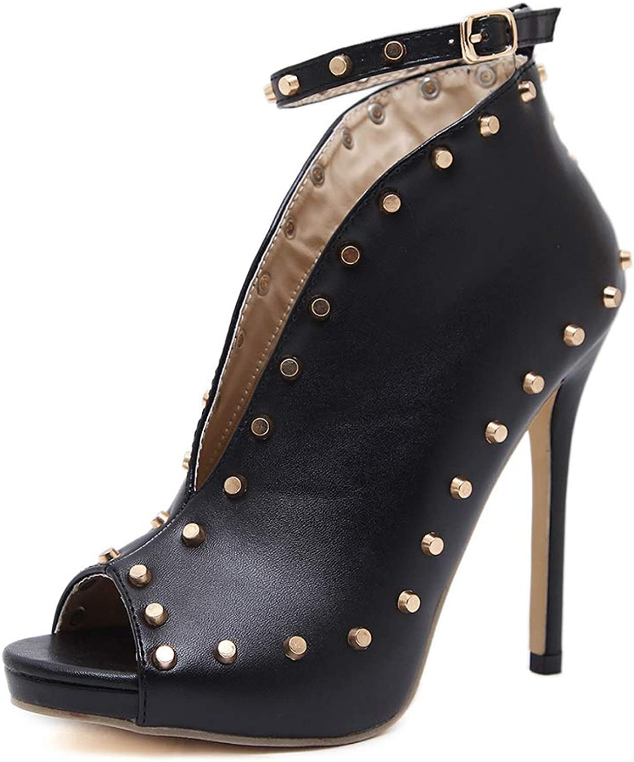 Women Sexy Studded Ankle Straps Stiletto High Heel Pumps Ankle Booties Fisherman Sandals,Black,6.5MUS