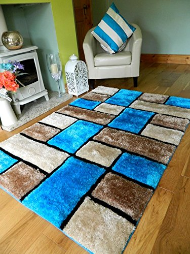 NEW MODERN TEAL TURQUOISE BROWN BEIGE THICK HEAVY SILKY SOFT LUXURIOUS SHAGGY LIVING AREA BEDROOM RUG NON SHED SHAGGY PILE 120 x 170 cms
