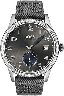 ساعة بمينا رمادي وسوار من الجلد الازرق والقماش الرمادي للرجال من هوغو بوس - 1513683