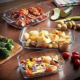 VonShef Set of 3 Glass Roasting Dishes - Oven, Freezer, Microwave & Dishwasher Safe
