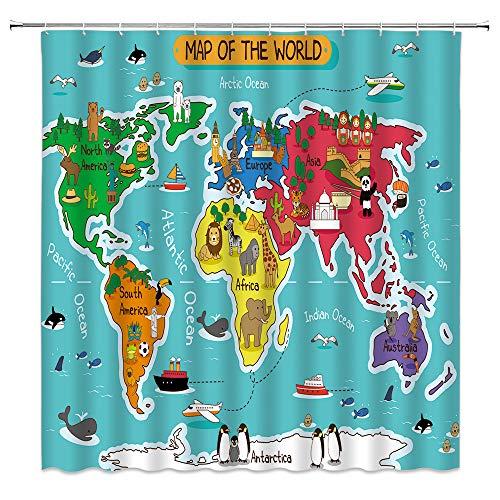 Xnichohe Animal World Map Shower Curtain for Kids,Giraffe Elephant Penguin Panda Ship Geography Education Forest Ocean Polyester Cloth Fabric Bathroom Curtains Decor Set with 12 pcs Hooks,70 x70 Inche