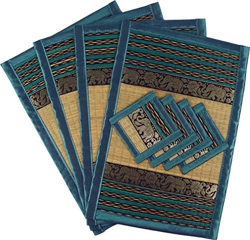 Guru-Shop Plaatsmat Bast Onderzetter Tafelset 4èr - Turquoise, 45x30x0,3 cm, Tafellopers en Tafelkleden