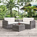 4pcs Patio Conversation Set Rattan Garden Outdoor Furniture Sofa Set with Storage Box and Cushions (Beige Cushions)