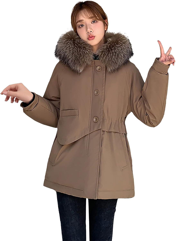 Women's Windproof Warm Parka Coat Long Sleeve Hooded Zipper Parka Coat Jacket Faux Fur Hood