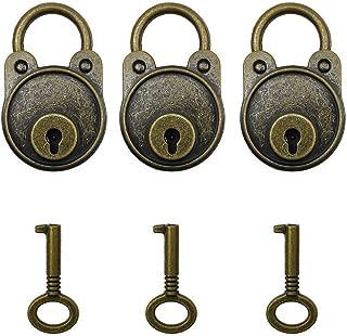 Hyamass 3pcs Vintage Antique Style Mini Archaize Padlocks Key Lock with Keys (Bronze)