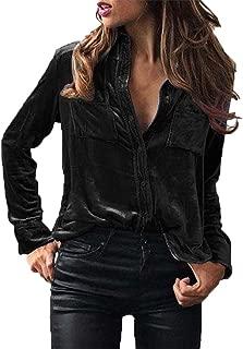 Women Blouse, Zulmaliu Solid Velvet Turn-Dowm Collar Long Sleeve T-Shirt Tops Blouse