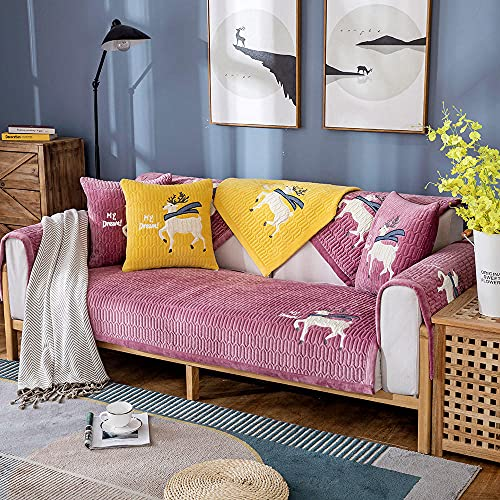 Homeen Cubierta de sofá Antideslizante de Felpa,Protector de sofá de 2/3/4 plazas,Funda de sofá de Invierno de otoño para sofá de Esquina/l sofá de Esquina-púrpura_110 * 240 cm