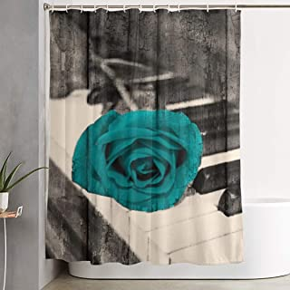 Amonee-YL Rustic Teal Rose Flower On Piano Keys, Teal Brown Polyester Fabric Shower Curtain Sets with 12 Hooks,Modern Bathroom Home Decor, 60