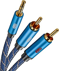 3.5mm Aux to RCA Stereo Splitter Cable[Nylon Braided,Durable and Flexible] EMK Audio Y Adapter Cable - Top Blue Series (10Feet/3M)