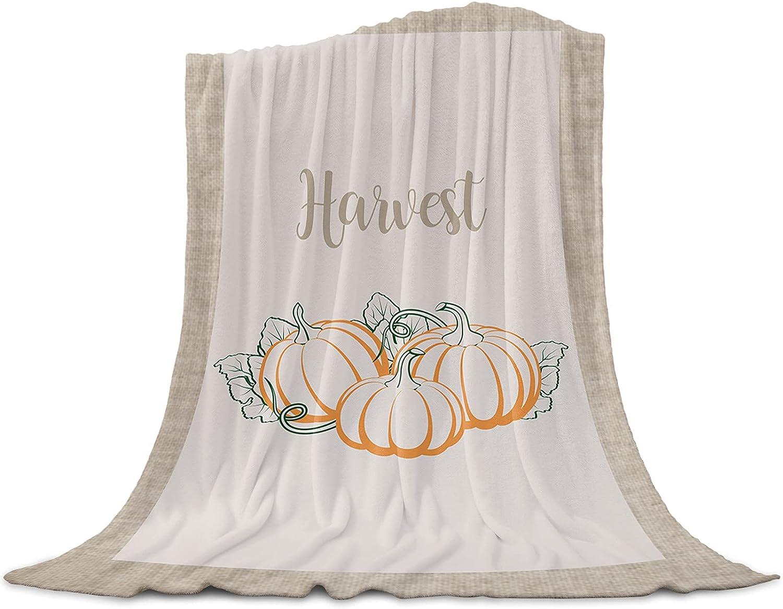 Throw Blanket Thanksgiving Harvest Pumpkin Ranking TOP19 Flannel B Portland Mall Ultra Soft