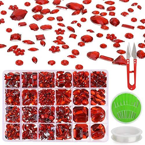 MWOOT Strasssteine zum Aufnähen, 700Stk Funkelnd Steine für Kleidungsstück und Basteln, Schmucksteine Bastelset mit Schere Nadel Faden, Schimmernd Glitzersteine Rot Crystal