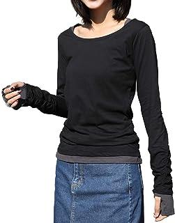 [キャプテン・ケイ] ロング Tシャツ 指穴 レイヤード 5カラー M~4L レディース