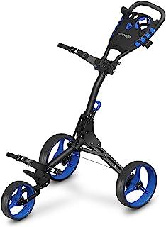 3 Wheel Golf Push Cart - Lightweight Folding Golf Walking Push Cart Roller Golf Bag Holder w/ Upper/Lower Bracket w/ Elast...
