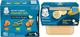 Sponsored Ad - Gerber Purees My 1st Vegetables, Box of 6 2 Ounce Tubs (Pack of 2) & 1st Foods, Banana Pureed Baby Food, 2 ...