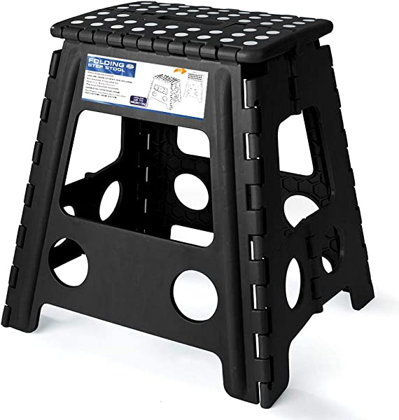 Acko 16 Inches Super Strong Folding Step Stool For Adults Kitchen Stepping Stools Garden Step Stool Black