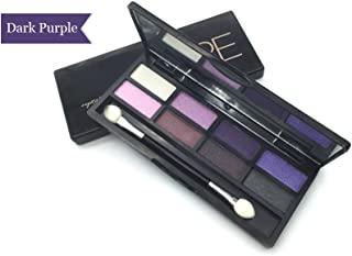 AMarkUp Pro 8 Colors Shimmer Eye Shadow Makeup Palette with Eyeshadow Cosmetic Brush Mirror (#03 Dark Purple)