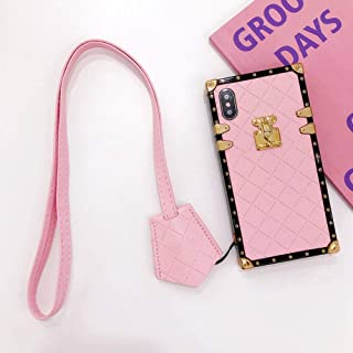 Square Grid Leather Case for iPhone Xs X 10 with Lanyard Luxury Lattice Rhombic Sheepskin Vintage Chic Stylish Cover Slim Soft Shockproof Trunk Back Shell (Pink, iPhone X/XS 5.8'')