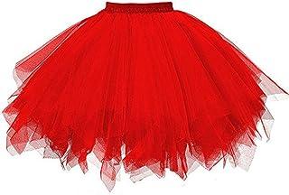 SHOBDW, Disfraz de Carnaval Mujeres Plisadas Falda de Gasa de Adultos Falda de Baile tutú Retro Rockabilly Enaguas Miriñaques Faldas
