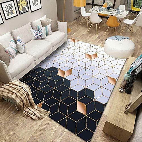 AU-SHTANG alfombras de Pasillo Alfombra Lila, patrón de diseño de Cubo geométrico antiácaros Mecanismo Moderno decoración de la casa Alfombra Alfombra niños Foam -Lavanda_Los 200x250cm