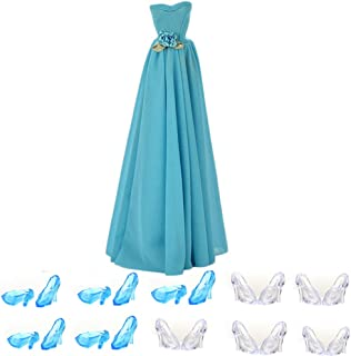 Buytra Fashion Handmade Clothes Party Dresses Gown Outfit with Flowers 12 Pairs Crystal Shoes for Mini Doll Girls Birthday Xmas Gift
