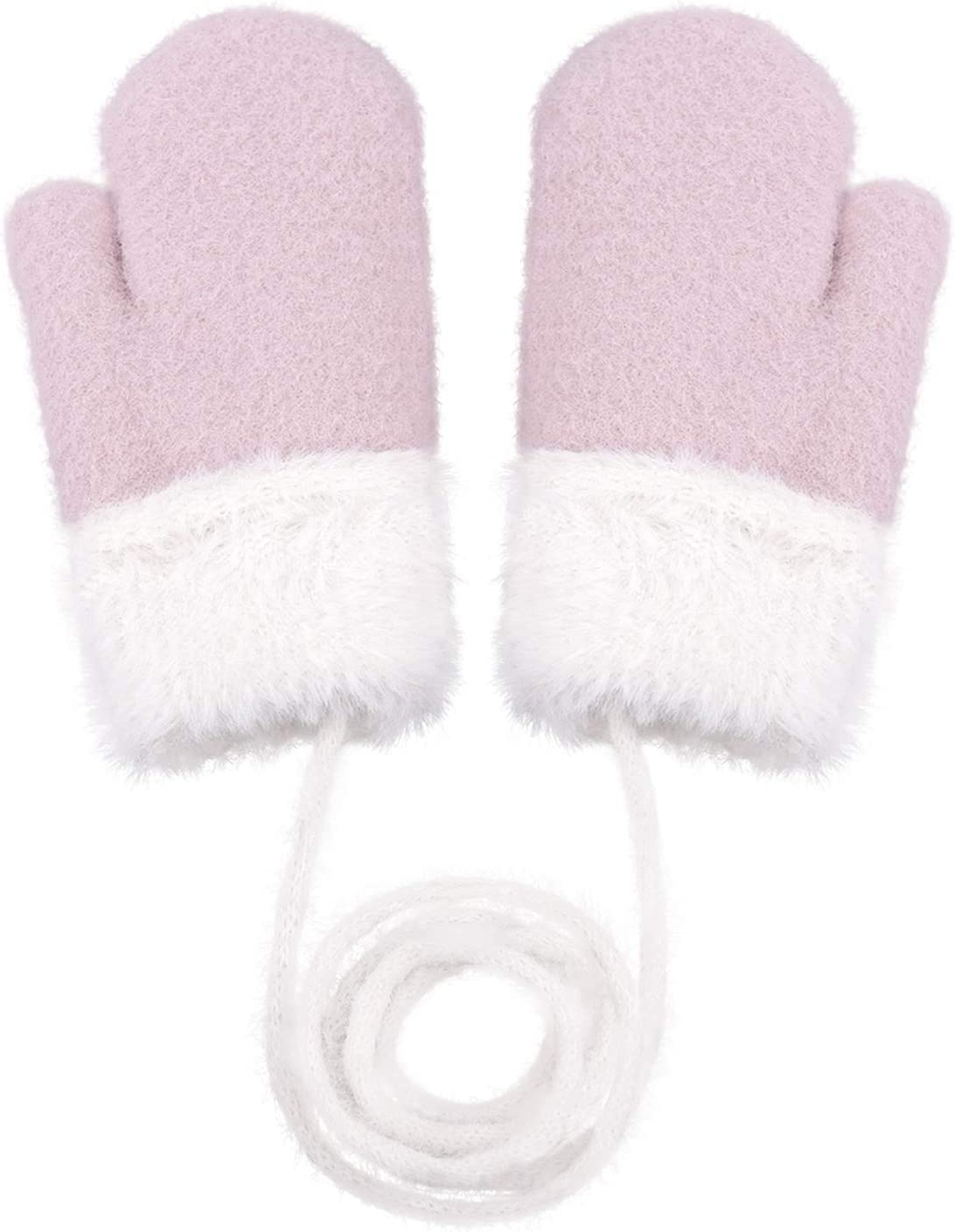 Toddler and Kids' Mittens Warm Plush Lined Gloves Thickened Full Finger Mittens with String for Boys Girls 1-4 Year