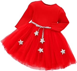 Vestidos Bebe Niña, Recién Bebé Niñas Tutú Princesa Vestido Pentagram Bautizo Bebé Niñas Vestidos de Manga Larga Otoño Invierno Ropa para 0-24 Meses