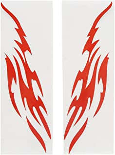 uxcell a17050300ux0170 2Pcs Red Flame Design Reflective Sticker Decor for Motorcycle Car Exterior, 2 Pack